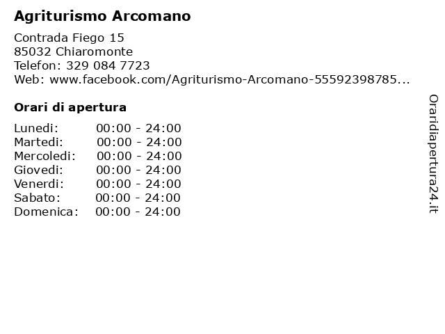 Agriturismo Arcomano a Chiaromonte: indirizzo e orari di apertura