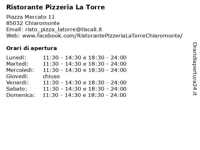 Ristorante Pizzeria La Torre a Chiaromonte: indirizzo e orari di apertura