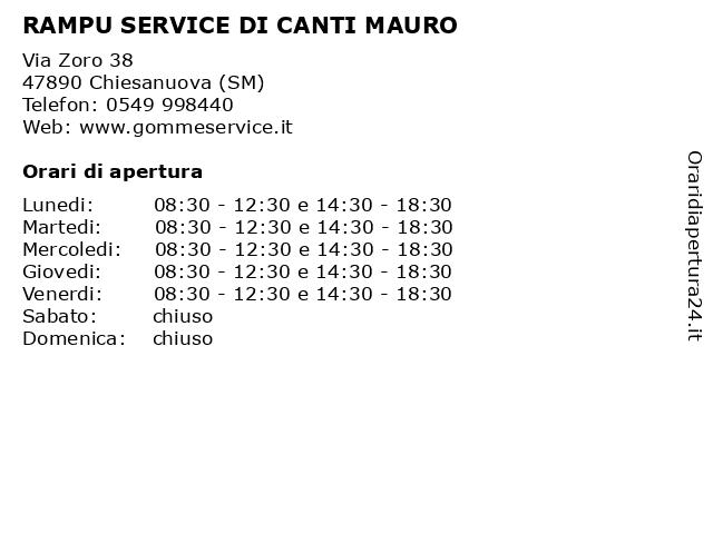 RAMPU SERVICE DI CANTI MAURO a Chiesanuova (SM): indirizzo e orari di apertura