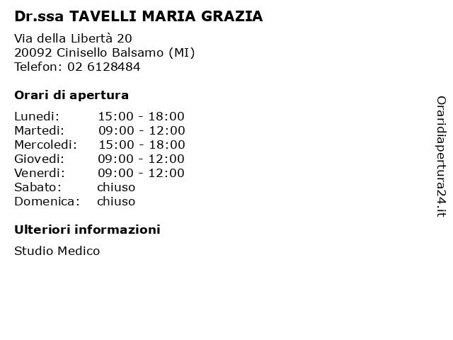 Dr.ssa TAVELLI MARIA GRAZIA a Cinisello Balsamo (MI): indirizzo e orari di apertura