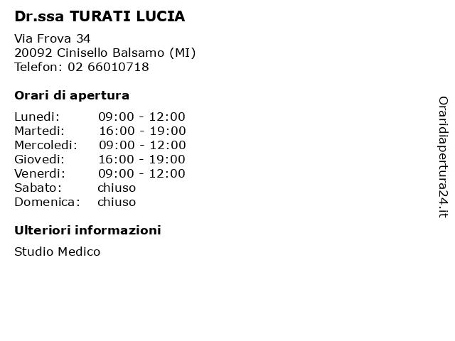 Dr.ssa TURATI LUCIA a Cinisello Balsamo (MI): indirizzo e orari di apertura