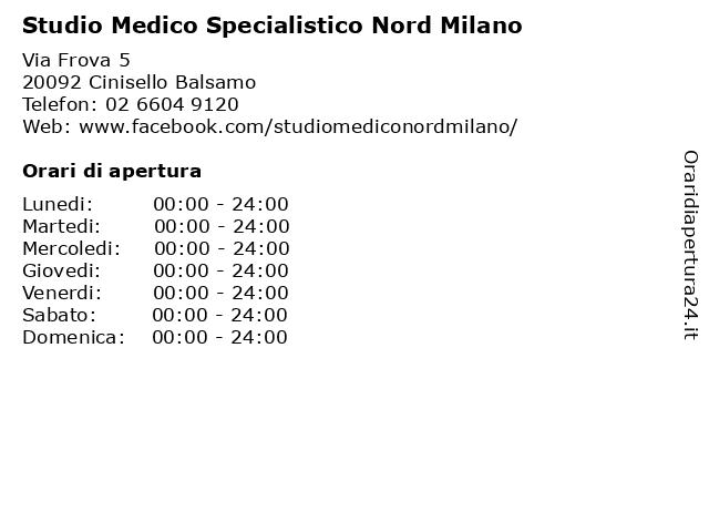 Studio Medico Specialistico Nord Milano a Cinisello Balsamo: indirizzo e orari di apertura