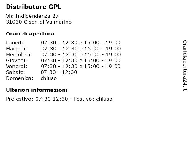 Distributore GPL a Cison di Valmarino: indirizzo e orari di apertura