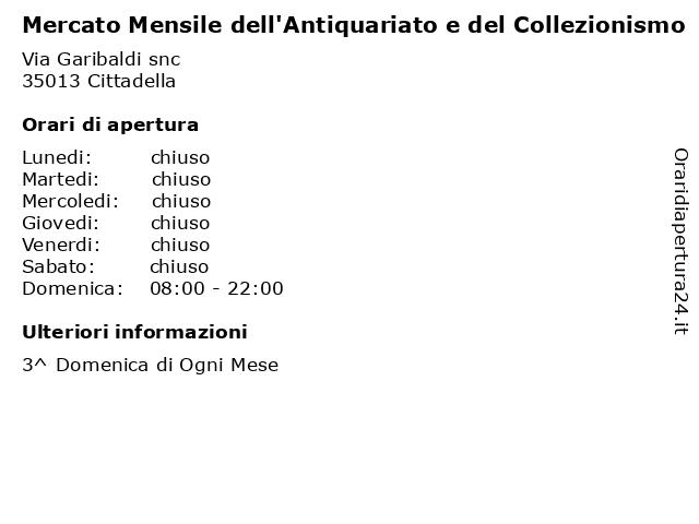 Mercato Mensile dell'Antiquariato e del Collezionismo a Cittadella: indirizzo e orari di apertura