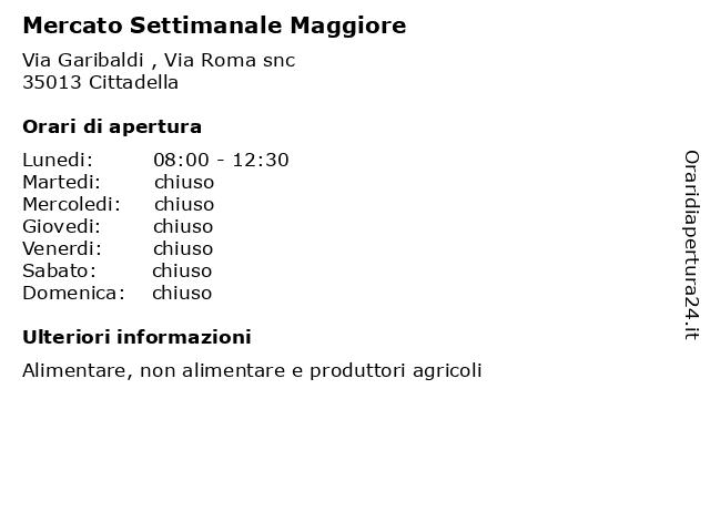 Mercato Settimanale Maggiore a Cittadella: indirizzo e orari di apertura