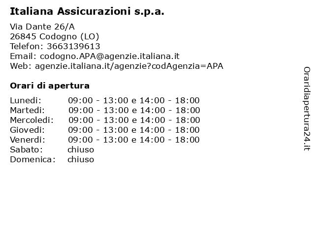 Italiana Assicurazioni s.p.a. a Codogno (LO): indirizzo e orari di apertura
