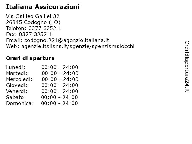 Italiana Assicurazioni a Codogno (LO): indirizzo e orari di apertura