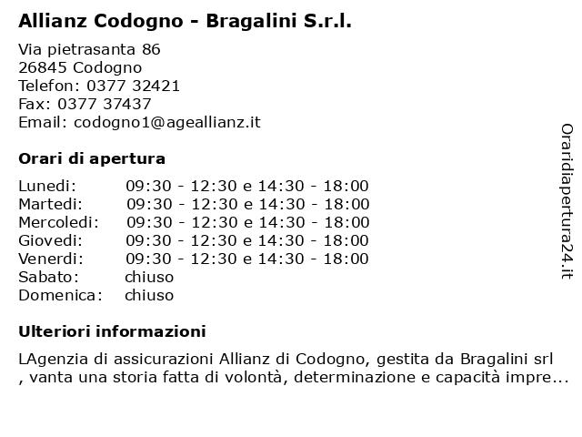 Allianz Codogno - Bragalini S.r.l. a Codogno: indirizzo e orari di apertura
