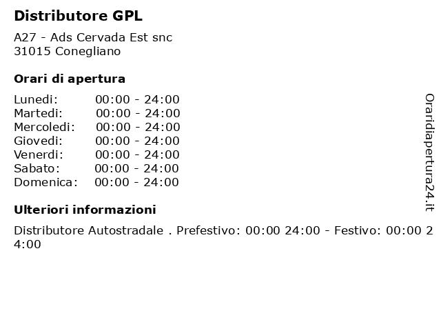 Distributore GPL a Conegliano: indirizzo e orari di apertura