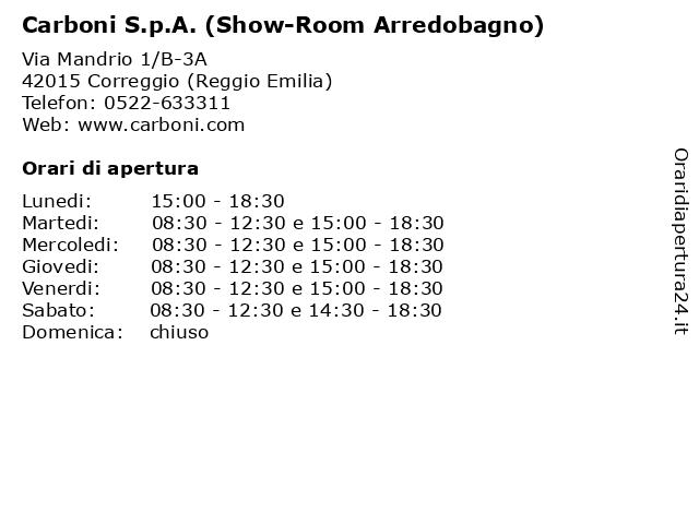 Carboni Correggio Arredo Bagno.ᐅ Orari Carboni S P A Show Room Arredobagno Via Mandrio 1 B
