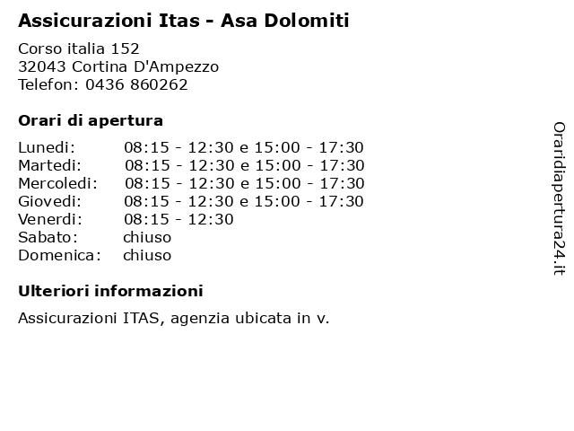 Assicurazioni Itas - Asa Dolomiti a Cortina D'Ampezzo: indirizzo e orari di apertura
