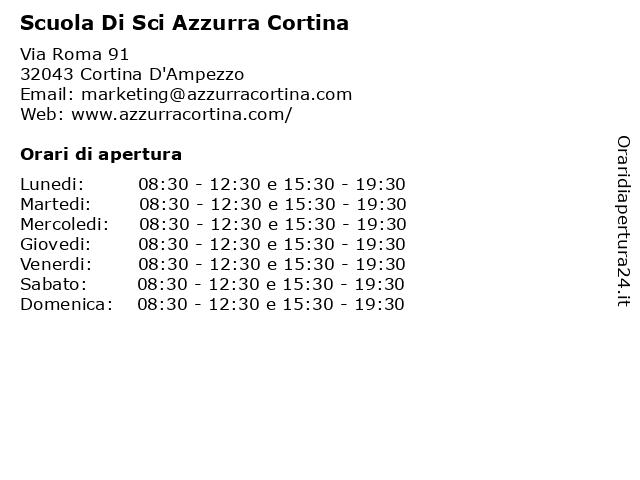 Scuola Di Sci Azzurra Cortina a Cortina D'Ampezzo: indirizzo e orari di apertura