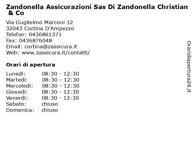 Zandonella Assicurazioni Sas Di Zandonella Christian & Co a Cortina D'Ampezzo: indirizzo e orari di apertura