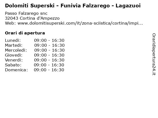 Dolomiti Superski - Funivia Falzarego - Lagazuoi a Cortina d'Ampezzo: indirizzo e orari di apertura