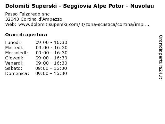 Dolomiti Superski - Seggiovia Alpe Potor - Nuvolau a Cortina d'Ampezzo: indirizzo e orari di apertura