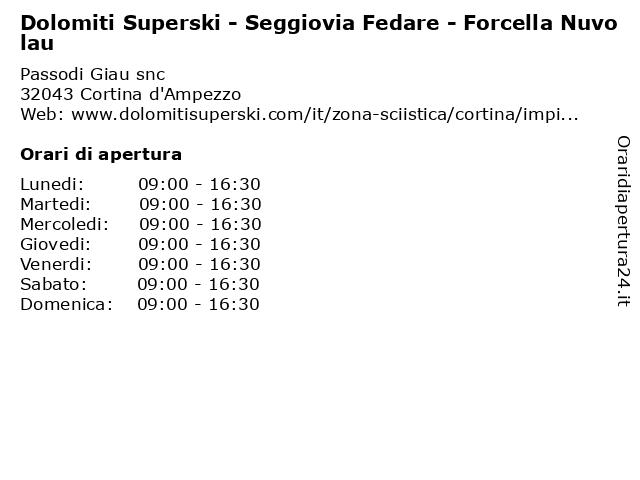 Dolomiti Superski - Seggiovia Fedare - Forcella Nuvolau a Cortina d'Ampezzo: indirizzo e orari di apertura