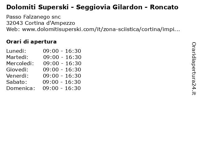 Dolomiti Superski - Seggiovia Gilardon - Roncato a Cortina d'Ampezzo: indirizzo e orari di apertura