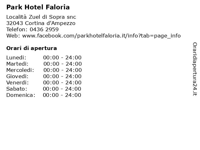 Park Hotel Faloria a Cortina d'Ampezzo: indirizzo e orari di apertura