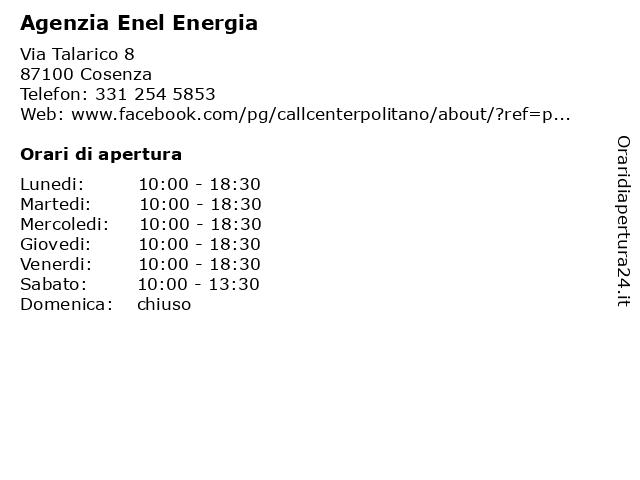 Agenzia Enel Energia a Cosenza: indirizzo e orari di apertura