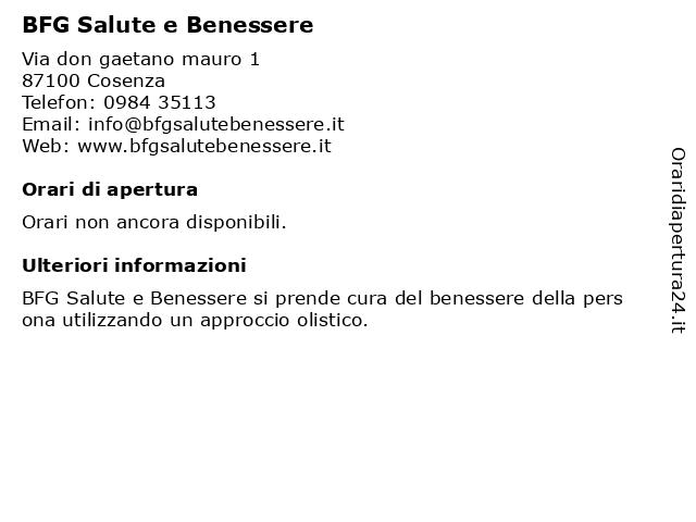 Á… Orari Bfg Salute E Benessere Via Don Gaetano Mauro 1 87100 Cosenza