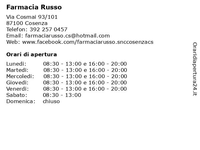 ᐅ Orari Farmacia Russo | Via Cosmai 93/101, 87100 Cosenza