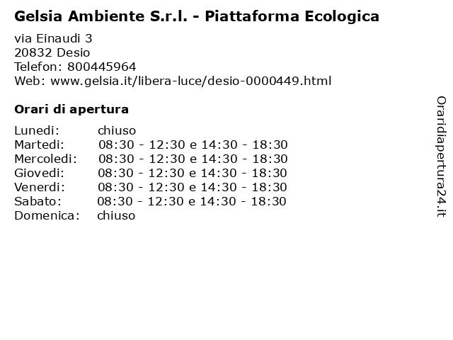 Gelsia Ambiente S.r.l. - Piattaforma Ecologica a Desio: indirizzo e orari di apertura