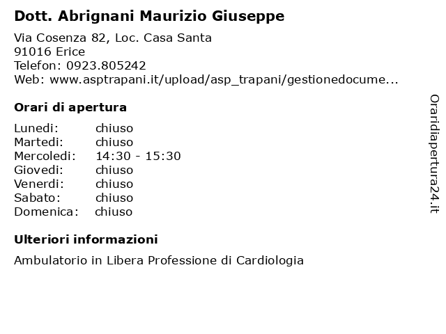 Dott. Abrignani Maurizio Giuseppe a Erice: indirizzo e orari di apertura