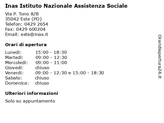 Caf Cisl - INAS a Este (Pd): indirizzo e orari di apertura