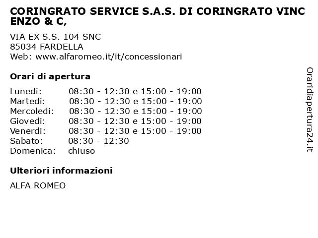 CORINGRATO SERVICE S.A.S. DI CORINGRATO VINCENZO & C, a FARDELLA: indirizzo e orari di apertura