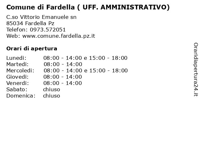 Comune di Fardella ( UFF. AMMINISTRATIVO) a Fardella Pz: indirizzo e orari di apertura