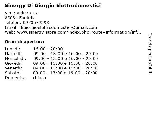 DIXE DI GIORGIO Elettrodomestici-Tv a Fardella: indirizzo e orari di apertura
