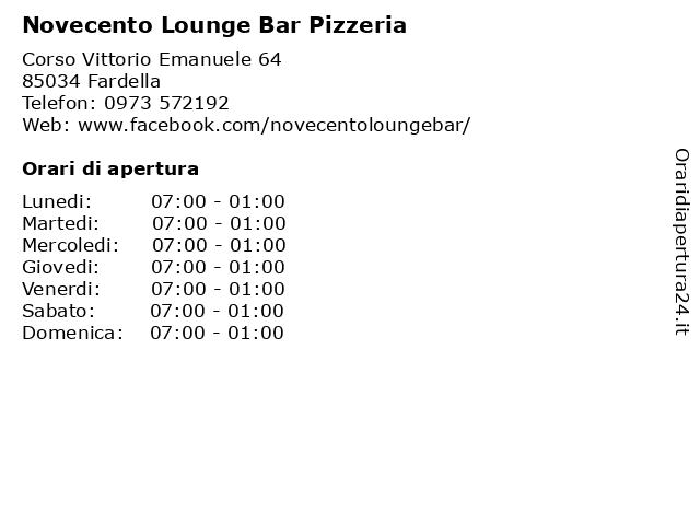 Novecento Lounge Bar Pizzeria a Fardella: indirizzo e orari di apertura
