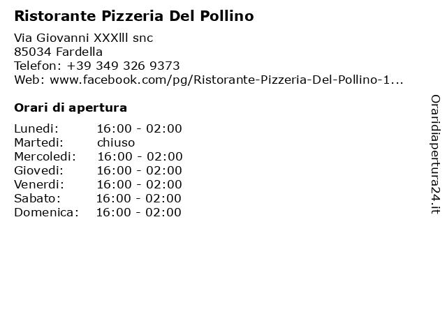 Ristorante Pizzeria Del Pollino a Fardella: indirizzo e orari di apertura