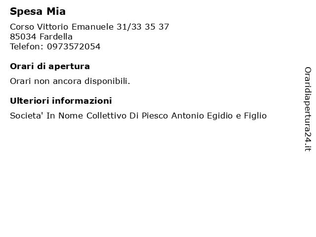 Spesa Mia a Fardella: indirizzo e orari di apertura
