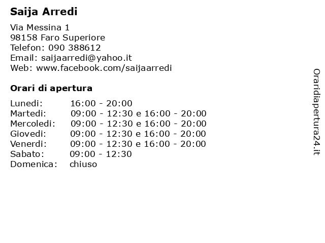 Saija Arredi a Faro Superiore: indirizzo e orari di apertura