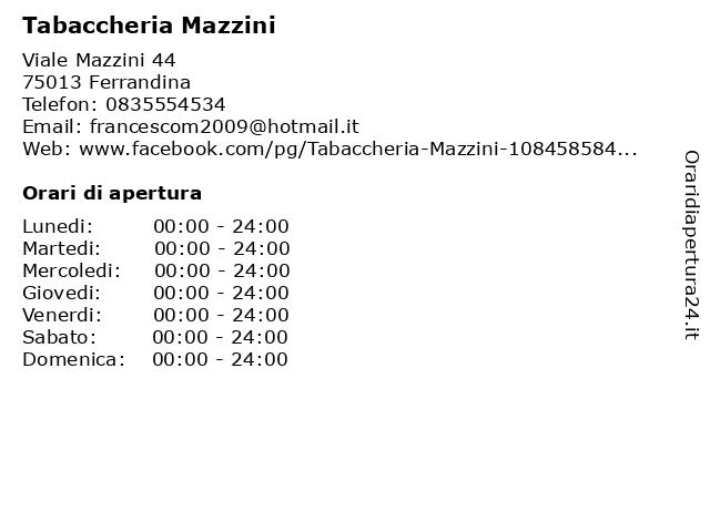 Tabaccheria Mazzini a Ferrandina: indirizzo e orari di apertura