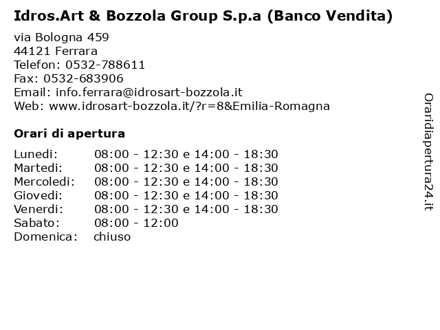 Idrosart Ferrara Arredo Bagno.ᐅ Orari Idros Art Bozzola Group S P A Banco Vendita Via