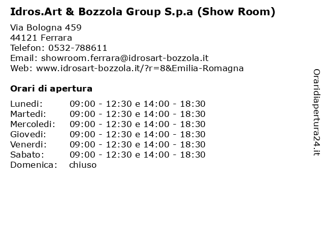 Idrosart Ferrara Arredo Bagno.ᐅ Orari Idros Art Bozzola Group S P A Show Room Via Bologna