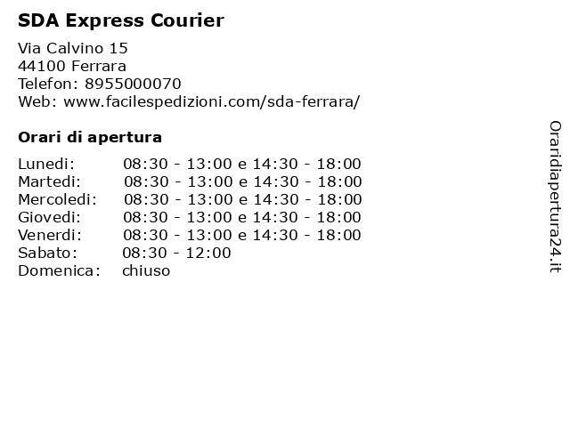 SDA Express Courier a Ferrara: indirizzo e orari di apertura