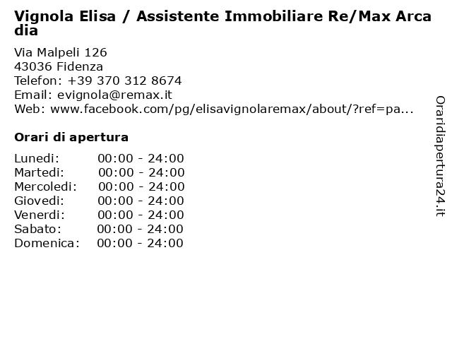 Vignola Elisa / Assistente Immobiliare Re/Max Arcadia a Fidenza: indirizzo e orari di apertura