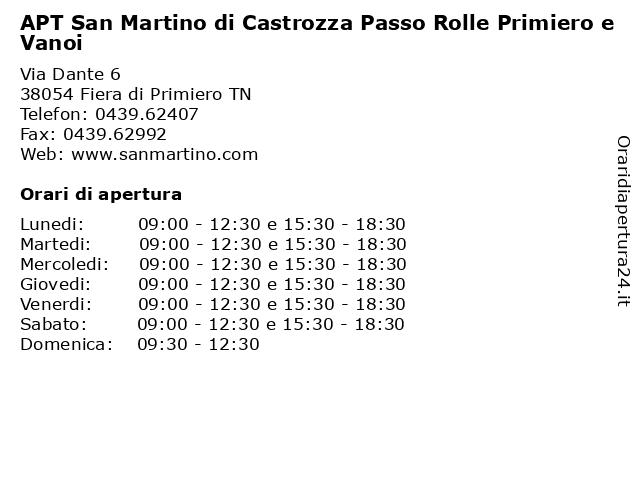 APT San Martino di Castrozza Passo Rolle Primiero e Vanoi a Fiera di Primiero TN: indirizzo e orari di apertura