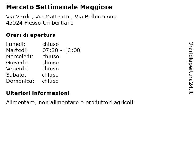 Mercato Settimanale Maggiore a Fiesso Umbertiano: indirizzo e orari di apertura