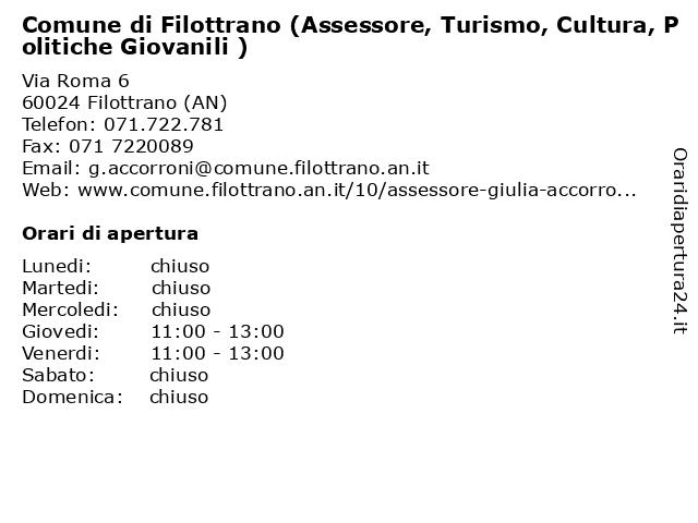 Comune di Filottrano (Assessore, Turismo, Cultura, Politiche Giovanili ) a Filottrano (AN): indirizzo e orari di apertura