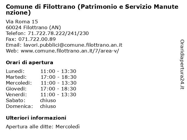 Comune di Filottrano (Patrimonio e Servizio Manutenzione) a Filottrano (AN): indirizzo e orari di apertura