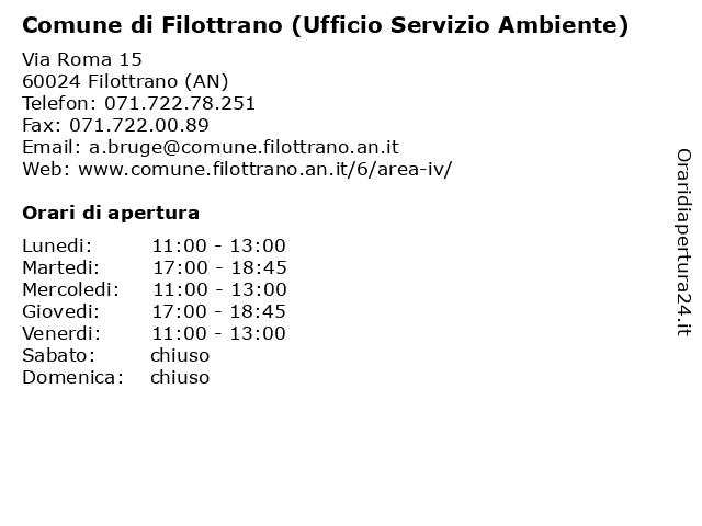Comune di Filottrano (Ufficio Servizio Ambiente) a Filottrano (AN): indirizzo e orari di apertura