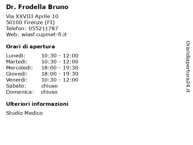 Dr. Frodella Bruno a Firenze (FI): indirizzo e orari di apertura