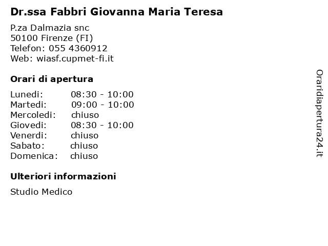 Dr.ssa Fabbri Giovanna Maria Teresa a Firenze (FI): indirizzo e orari di apertura