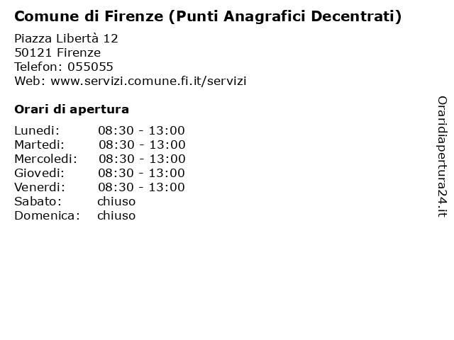 Comune di Firenze (Punti Anagrafici Decentrati) a Firenze: indirizzo e orari di apertura