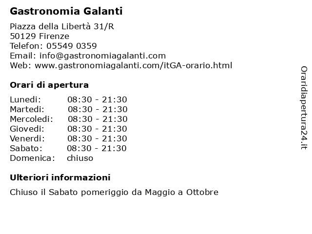 Gastronomia Galanti a Firenze: indirizzo e orari di apertura