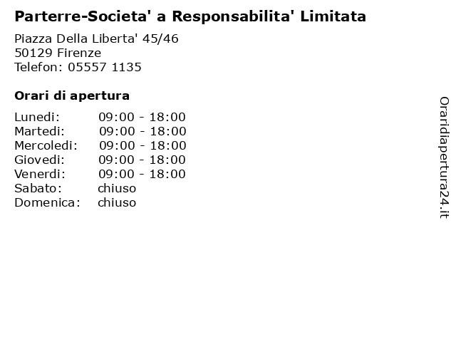 Parterre-Societa' a Responsabilita' Limitata a Firenze: indirizzo e orari di apertura